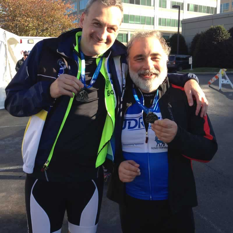 Mark Willoughby and Barry Kaplan ride for Diabetes Research