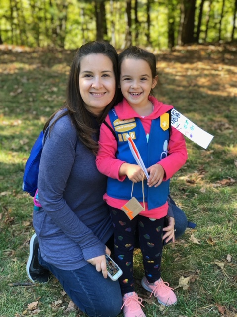 Jeanne Owens, Girl Scout Troop Leader, Poses with her daughter Addie