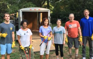 The Modera NC Office Staff volunteer to help celan up Independence Park.