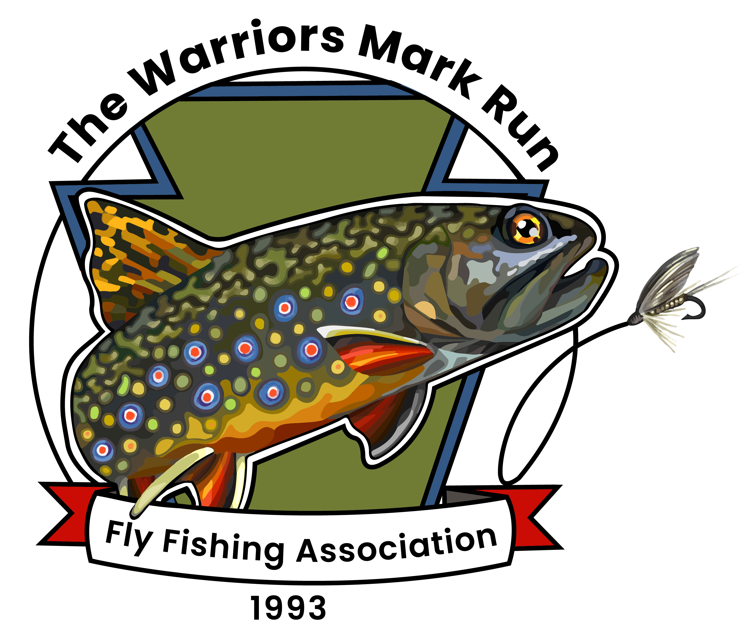 Logo for Fly fishing association, graphic depiction of fish going after fly
