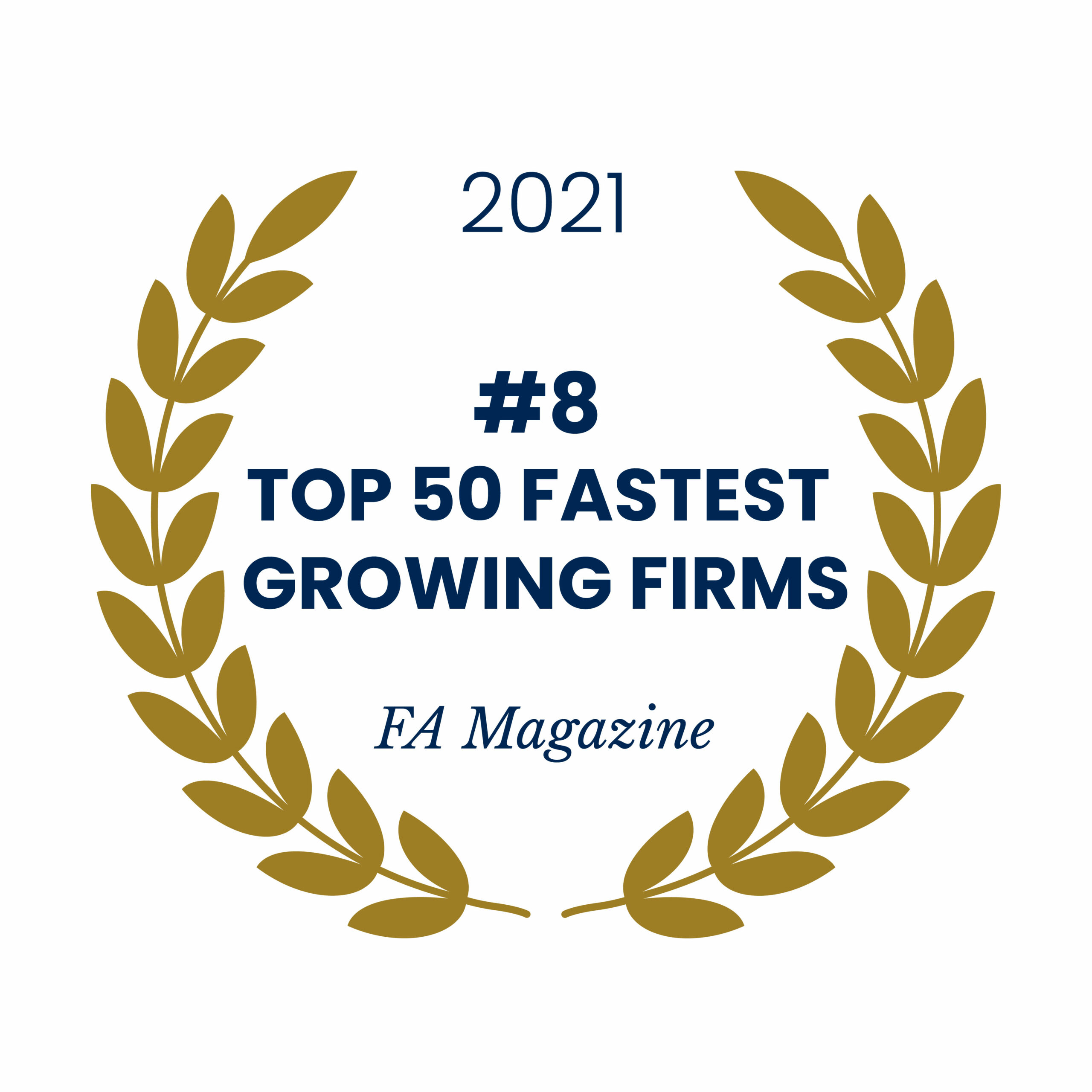 Award emblem for ranking #8 of Top 50 Fast Growing Firms by FA Magazine